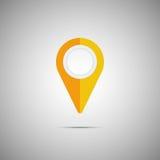 Ícone amarelo colorido do ponteiro do mapa Elemento do vetor Foto de Stock