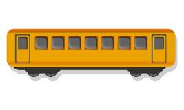 Ícone amarelo do vagão do passageiro, estilo dos desenhos animados ilustração stock