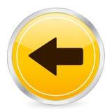 Ícone amarelo esquerdo do círculo da seta Fotografia de Stock