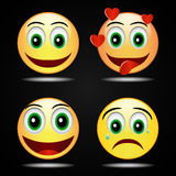 Ícone amarelo feliz do amor do sorriso do sorriso ajustado, vetor Fotografia de Stock Royalty Free