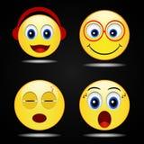 Ícone amarelo feliz do sorriso do sorriso ajustado, vetor Foto de Stock Royalty Free