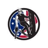 Ícone americano da bandeira dos EUA do cirurgião de árvore Fotografia de Stock Royalty Free