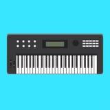 Ícone análogo do sintetizador Ilustração do vetor do instrumento musical Projeto liso do estilo com sombra longa Imagens de Stock