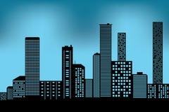 Ícone arquitetónico preto da construção da arquitetura da cidade projete o estilo liso da silhueta no vetor azul da ilustração do Fotografia de Stock Royalty Free