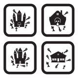 Ícone assombrado da casa ou do castelo em quatro variações Foto de Stock
