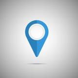 Ícone azul colorido do ponteiro do mapa Imagens de Stock