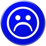 Ícone azul com símbolo da face triste Ilustração Stock