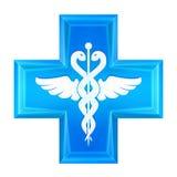 Ícone azul da cruz da saúde isolado ilustração do vetor