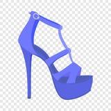Ícone azul da sandália da mulher, estilo liso ilustração stock