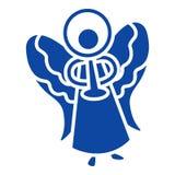 Ícone azul do anjo do xmas, estilo simples ilustração royalty free