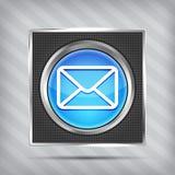 Ícone azul do botão do email Fotografia de Stock