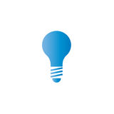 Ícone azul do logotipo da lâmpada, economias da ideia da energia Fotos de Stock Royalty Free