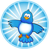 Ícone azul do pássaro do Tweet Imagens de Stock Royalty Free