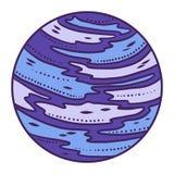 Ícone azul do planeta, estilo tirado mão ilustração royalty free