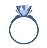 Ícone azul do vetor do anel de noivado do diamante Fotos de Stock