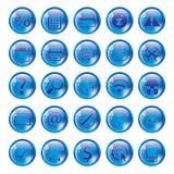 Ícone azul lustroso ajustado para o Web ilustração do vetor