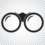 Ícone binocular do vetor Os binóculos exploram a ilustração lisa sim ilustração royalty free