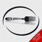 Ícone Bon Appetit da forquilha - símbolo circular do restaurante - isolado no fundo transparente Fotos de Stock Royalty Free