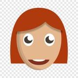 Ícone bonito da cara da menina, estilo dos desenhos animados ilustração stock