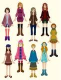 Ícone bonito da menina dos desenhos animados Foto de Stock Royalty Free