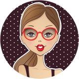 Ícone bonito do avatar da menina Cara da jovem mulher Illustra dos desenhos animados ilustração do vetor