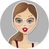 Ícone bonito do avatar da menina do vetor Cara da jovem mulher Porto bonito da senhora ilustração royalty free