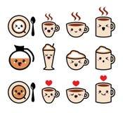 Ícone bonito do kawaii do café, do cappuccino e do café ajustado -  ilustração royalty free