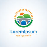 Ícone bonito do logotipo do círculo da opinião da paisagem Foto de Stock
