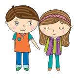 Ícone bonito dos desenhos animados do menino e da menina, alcançando a mão, mulher tímida, por muito tempo Imagem de Stock