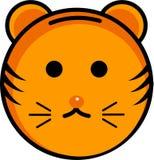 Ícone bonito e smiley do tigre ilustração royalty free