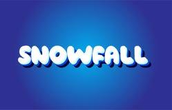 ícone branco azul do logotipo do projeto do vetor do conceito do texto 3d da queda de neve Fotografia de Stock