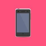 Ícone branco de Smartphone no projeto liso Fotos de Stock Royalty Free