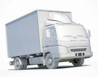 ícone branco do caminhão de entrega 3d Foto de Stock