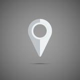 Ícone branco do ponteiro do mapa Elemento do vetor Imagens de Stock Royalty Free