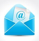 Ícone brilhante azul abstrato do correio Imagem de Stock