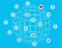 Ícone brilhante colorido do globo com símbolos Foto de Stock Royalty Free