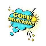 Ícone cômico do texto de Art Style Good Morning Expression do PNF da bolha do bate-papo do discurso ilustração stock