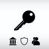 Ícone chave, ilustração do vetor Estilo liso do projeto Fotos de Stock