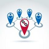Ícone clássico do elo de corrente, equipe dos trabalhadores, ícones da Web Imagem de Stock