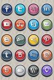 20 ícone clássico social v2.0 Fotografia de Stock