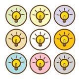 Ícone claro do sinal da lâmpada Símbolo da ideia A luz está ligada Foto de Stock