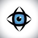 Ícone colorido abstrato do olho humano com c eletrônico ilustração royalty free