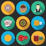 Ícone colorido ajustado em um tema do casino Imagens de Stock