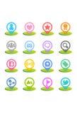 Ícone colorido ajustado - media sociais Imagem de Stock