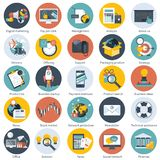 Ícone colorido ajustado para o negócio, a gestão, a tecnologia, as finanças e o comércio eletrônico Objetos lisos para Web site e ilustração royalty free