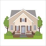 Ícone colorido da casa da casa de campo no estilo liso Foto de Stock Royalty Free