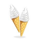 Ícone colorido do fast food dos desenhos animados no fundo branco Cone de gelado Imagens de Stock Royalty Free