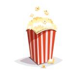 Ícone colorido do fast food dos desenhos animados no fundo branco Grande empacotamento da pipoca Imagens de Stock Royalty Free