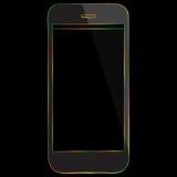 Ícone colorido do telefone celular no fundo preto Fotos de Stock