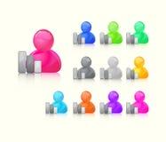 Ícone colorido do usuário ajustado com Gray Graph Bars Signs Fotografia de Stock